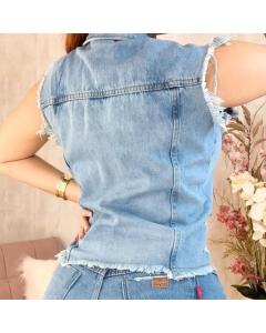 Colete jeans botão encapado